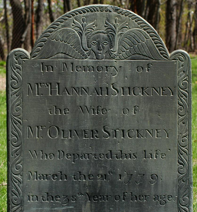 [Gravestone of Hannah Stickney, carved by John Dwight of Shirley, Massachusetts.]