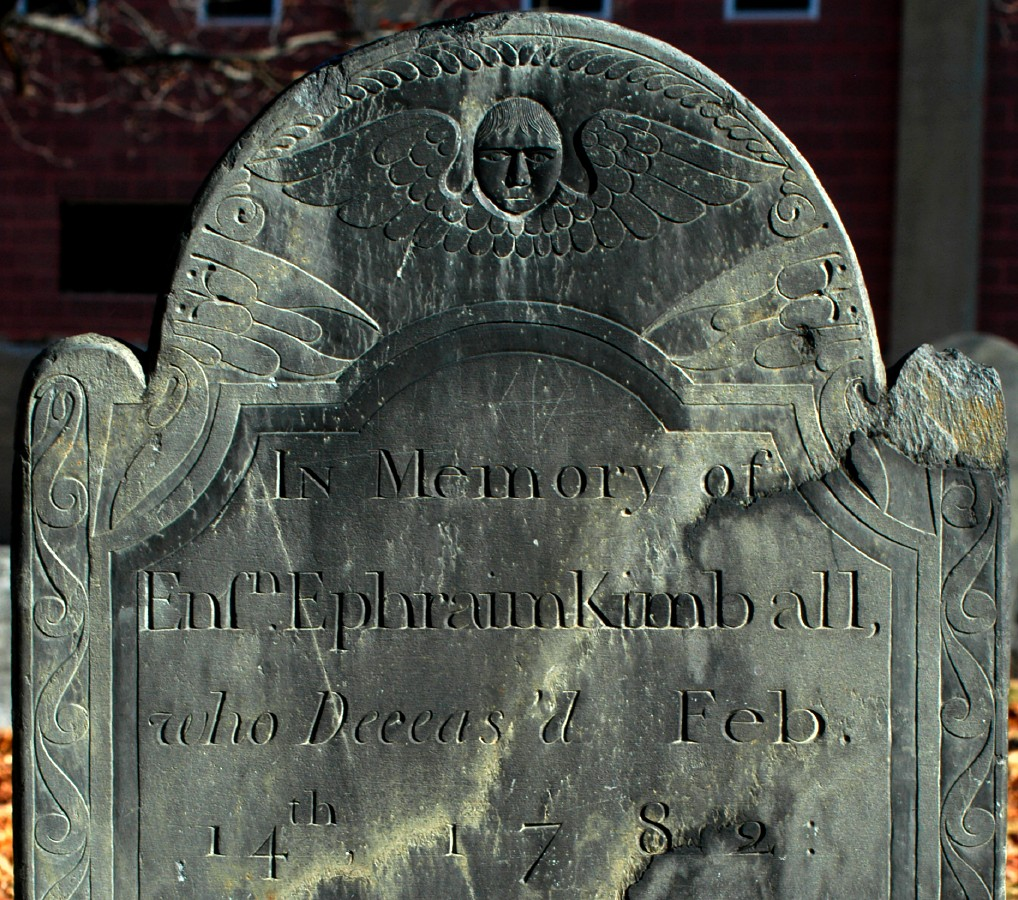 [Gravestone of Ephraim Kimball, carved by John Dwight of Shirley, Massachusetts.]