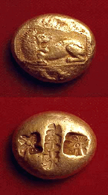 [Image: Electrum recumbent-lion stater of ancient Miletus.]