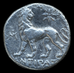 [Image: Silver ancient coin of Miletus in Asia Minor.]