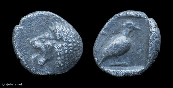 [Image: Milesian 1/48 stater, one of the smallest coins of ancient Greece.]