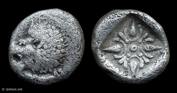 [Image: Specimen RJO 40 from 'Ancient Coins of Miletus']