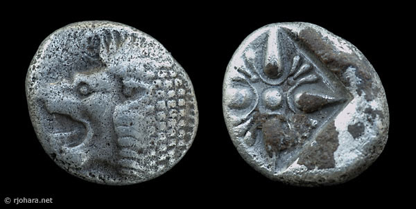 [Image: Specimen RJO 54 from 'Ancient Coins of Miletus']