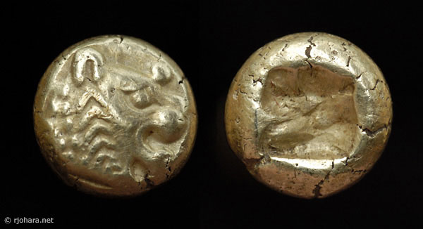 [Image: An electrum (gold/silver) lion-head coin of Alyattes, king of ancient Lydia.]