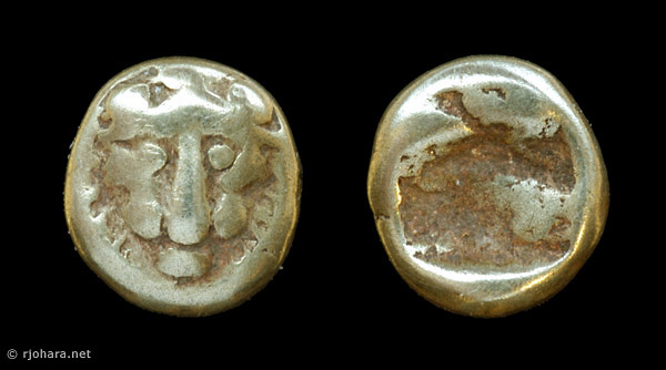 [Image: An electrum (gold/silver) lion-head coin of ancient Miletus.]