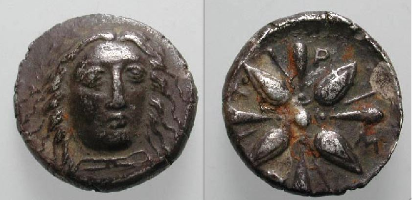 [Image: Silver lion-head coin of Hidrieus (Idrieus), satrap of Caria.]