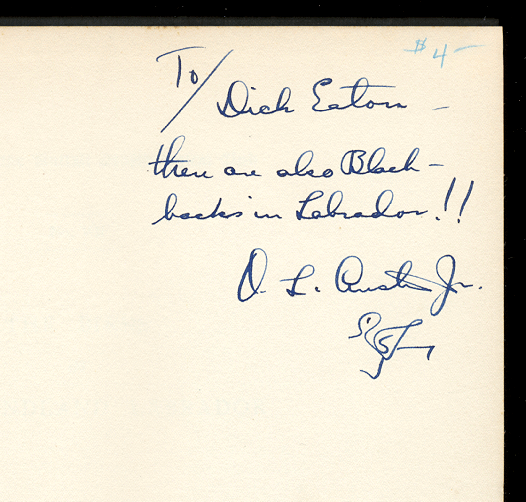 [Image: O.L. Austin autograph inscription on his 'Birds of Newfoundland Labrador']