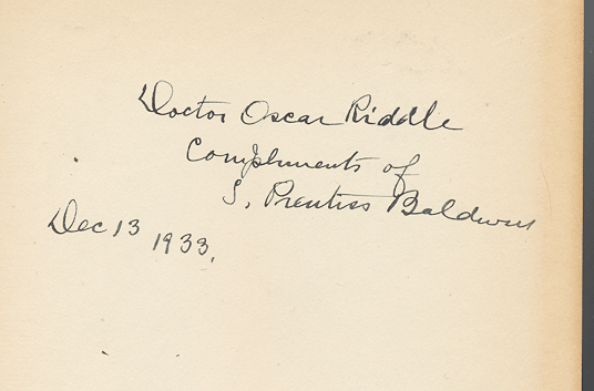 [Image: Samuel Prentiss Baldwin autograph inscription on his 'Measurements of Birds']
