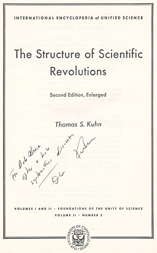 [Image: Autograph inscription in Thomas Kuhn's 'Structure of Scientific Revolutions']