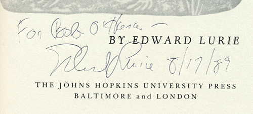 [Image: Autograph inscription on Edward Lurie's biography 'Louis Agassiz: A Life in Science']