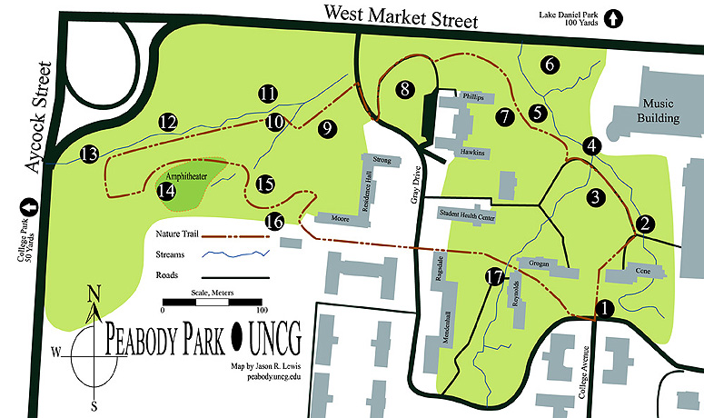 [Peabody Park trail map]