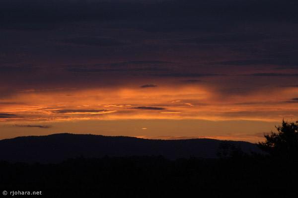 [Adirondack Mountain sunset from Middlebury College in Vermont.]