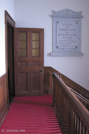 [Mead Chapel Civil War memorial and choir loft stairs, with red carpet.]