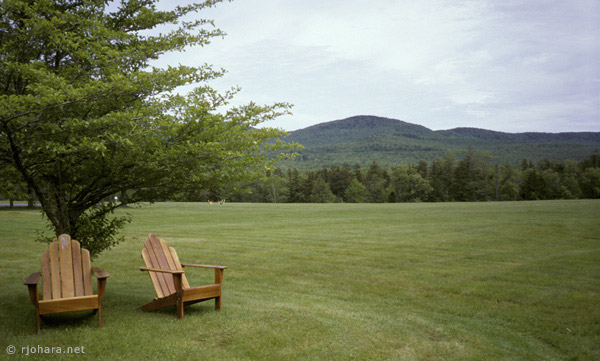 [Fields and mountains on the Bread Loaf campus of Middlebury College, Ripton, Vermont.]