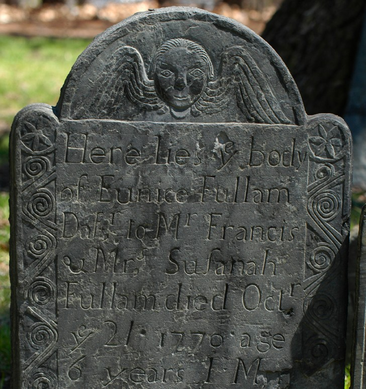 [Grave marker of Eunice Fullam (1770), carved by Moses Worster.]