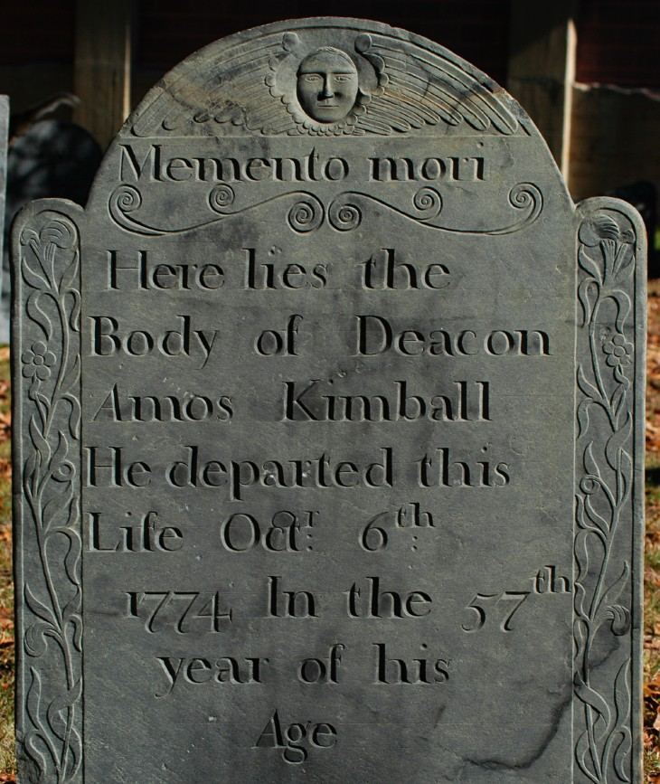 [Gravestone of Deacon Amos Kimball of Fitchburg, carved by the Park workshop of Groton, Massachusetts.]