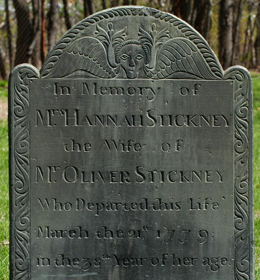 [Gravestone of Hannah Stickney, carved by John Dwight of Shirley, Massachusetts.]