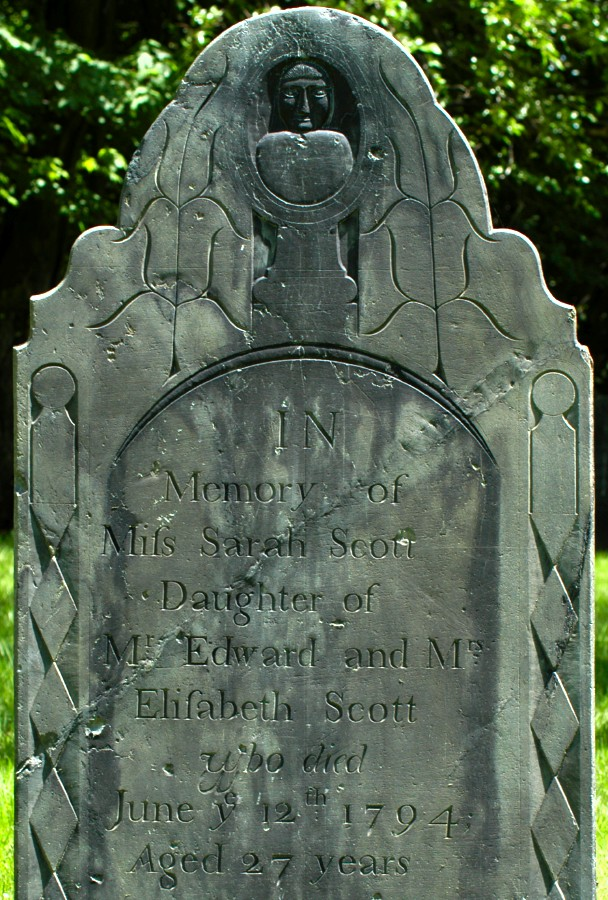 [The 1794 gravestone of Sarah Scott of Fitchburg, Massachusetts, made by an unknown stone carver.]