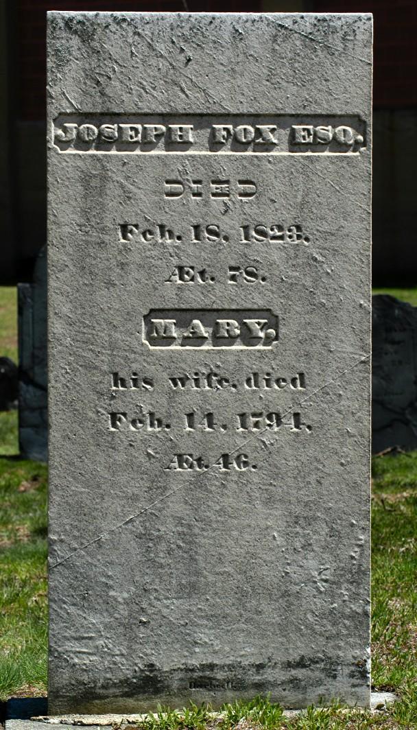 "[The rectangular marble gravestone of Joseph Fox, made by ""Hartwell.""]"