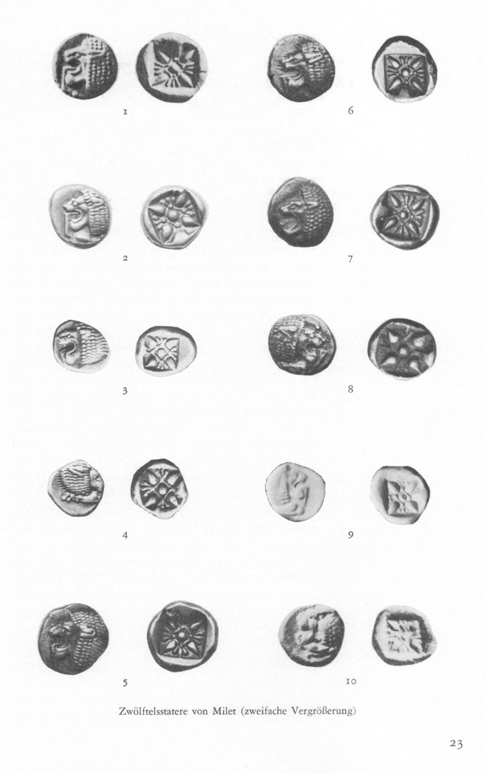 [Image: Obverse and reverse photographs of ten different varieties of the Milesian twelfth stater]