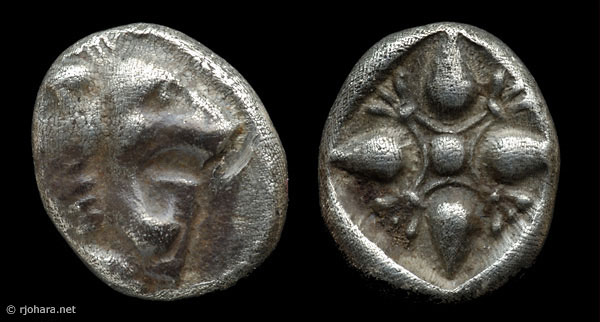 [Image: Specimen RJO 1 from 'Ancient Coins of Miletus']