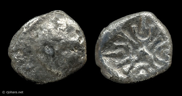 [Image: Possible counterfeit or fourree of an ancient silver coin of Miletus (1/12th stater, lion-sun type).]