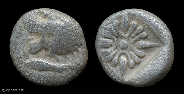 [Image: Specimen RJO 6 from 'Ancient Coins of Miletus']