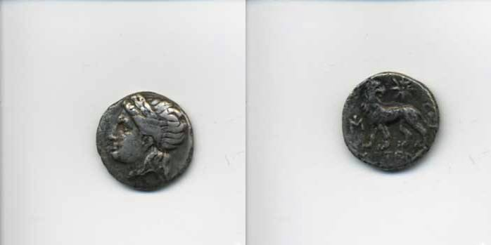 [Image: Silver Apollo-head drachm coin of ancient Miletus.]