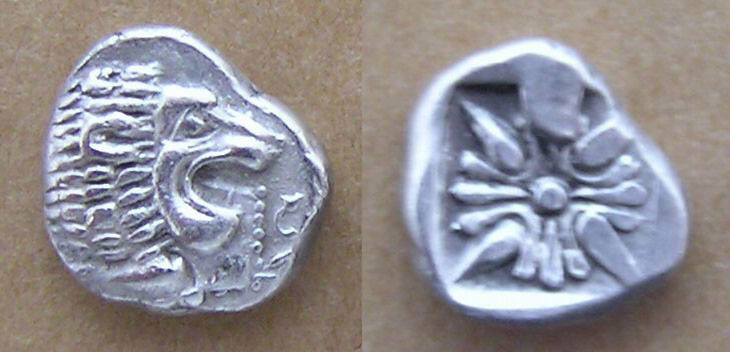 [Image: Ancient silver coin of Miletus (1/12th stater, lion-sun type, with beaded truncation).]