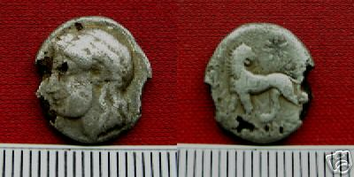[Image: Silver Apollo-head hemidrachm coin of ancient Miletus.]