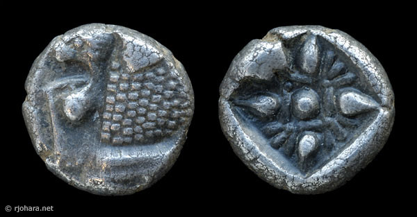 [Image: Ancient silver coin of Miletus (1/12th stater, lion-sun type).]