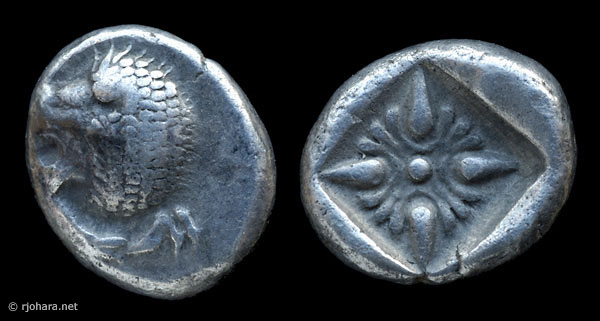 [Image: Specimen RJO 20 from 'Ancient Coins of Miletus']