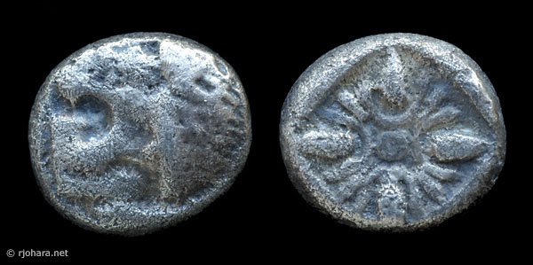 [Image: Specimen RJO 22 from 'Ancient Coins of Miletus']