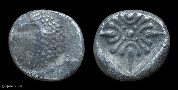 [Image: Specimen RJO 27 from 'Ancient Coins of Miletus']