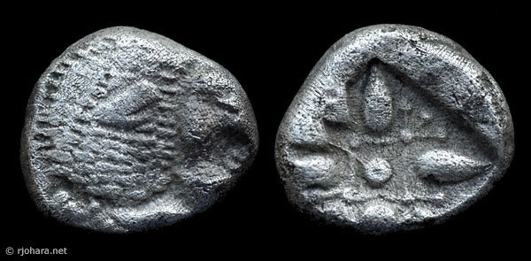 [Image: Specimen RJO 39 from 'Ancient Coins of Miletus']