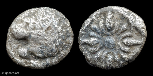 [Image: Ancient coin of Milesian style (lion-sun type) in a rare 1/48th stater denomination.]