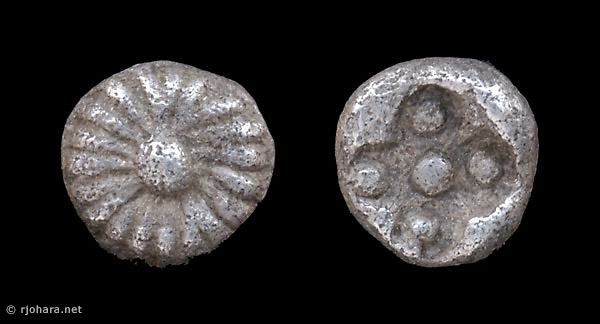 [Image: Tiny silver coin of ancient Asia Minor.]