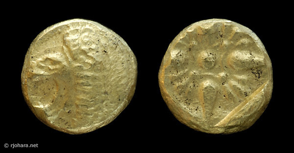 [Image: Ancient electrum (?) coin of Miletus (1/12th stater, lion-sun type).]