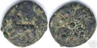 [Image: Bronze lion/sun coin of 4th-century Miletus.]