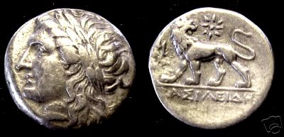 [Image: Silver Apollo/lion didrachm from ancient Asia Minor.]