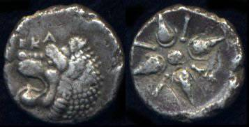 [Image: Ancient silver lion coin of Hecatomnus, satrap of Caria.]
