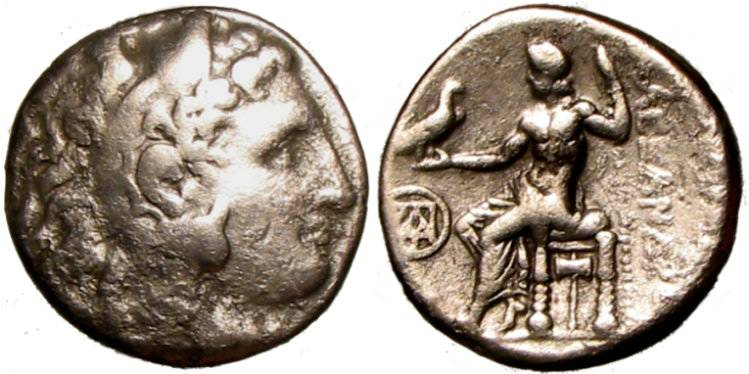 [Image: Silver tetradrachm coin of Alexander the Great.]