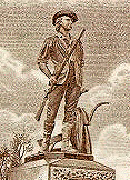 [Engraving of 'The Minuteman' statue by Daniel Chester French]