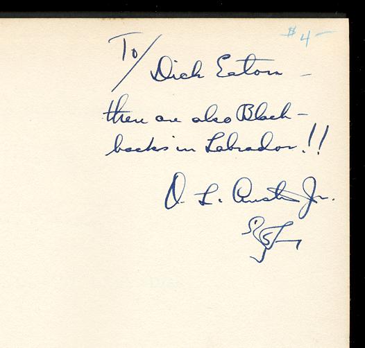 [Image: O.L. Austin autograph inscription on his 'Birds of Newfoundland Labrador']