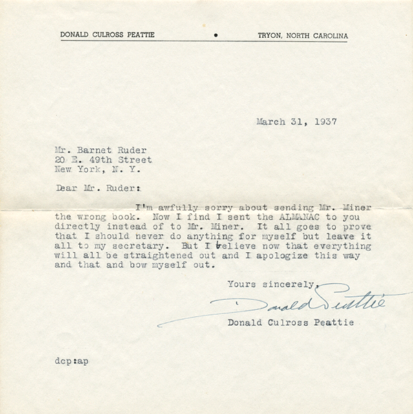 [Image: Typed letter signed from naturalist-author Donald Culross Peattie about his 'Almanac for Moderns']