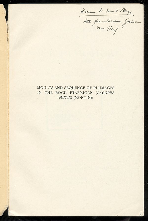 [Image: Presentation copy of Finn Salomonsen's 'Plumages in the Rock Ptarmigan' inscribed to Ernst Mayr]