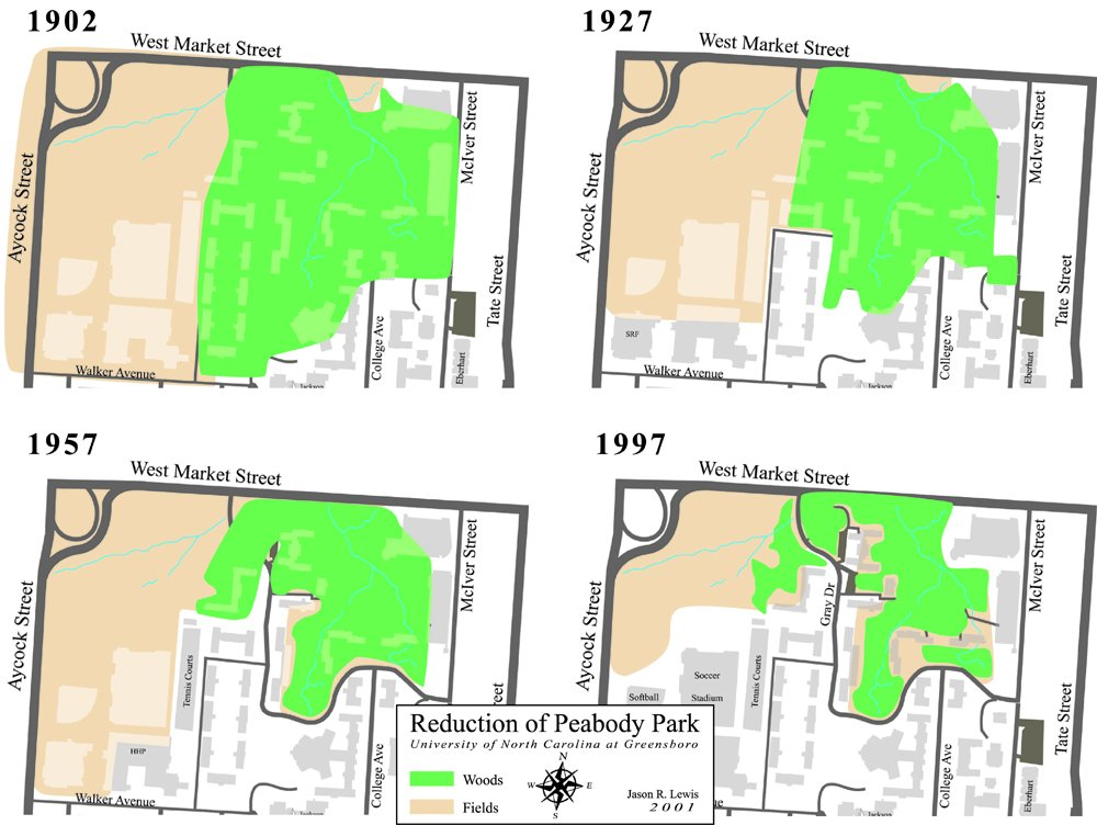 [UNCG campus map showing reduction of Peabody Park, 1902-1997]