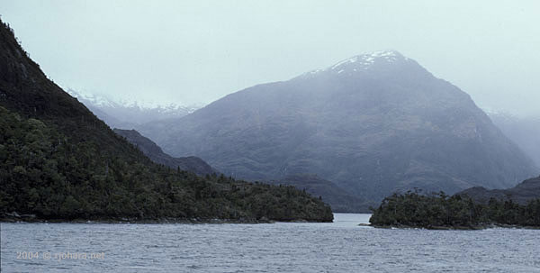 [Magnificent scenery on the 'Explorer' cruise route through the Chilean fiords.]