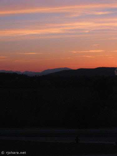 [Adirondack Mountains sunset from Middlebury College]